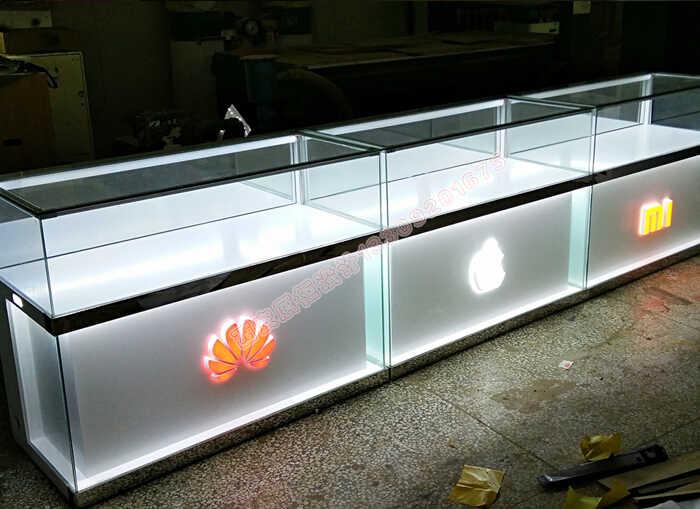 手机烤漆展柜制作案例手机柜台设计