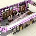 铁木结合化妆品店面展示柜设计