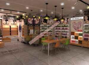 新款化妆品铁木结合烤漆展柜设计