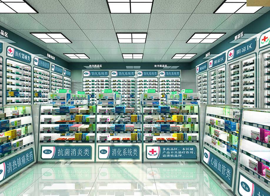 现代药店需要用到那些药店柜台货架,药店货架柜台尺寸是多少
