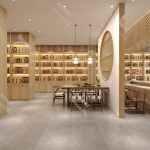 白酒展柜设计,白酒木纹烤漆展柜设计效果图