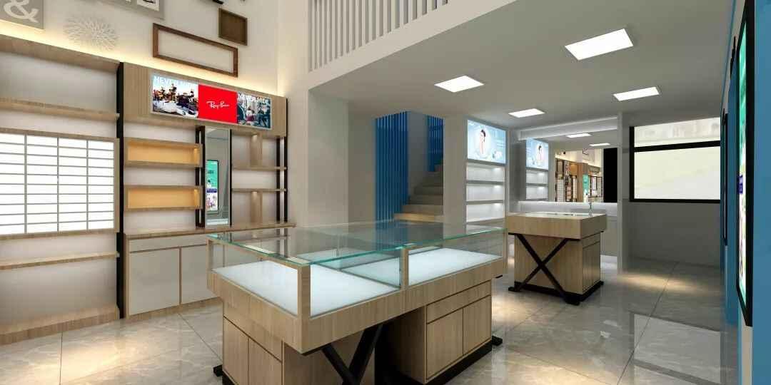 眼镜店利用木质眼镜店展柜,来打造店面档次增加吸引量