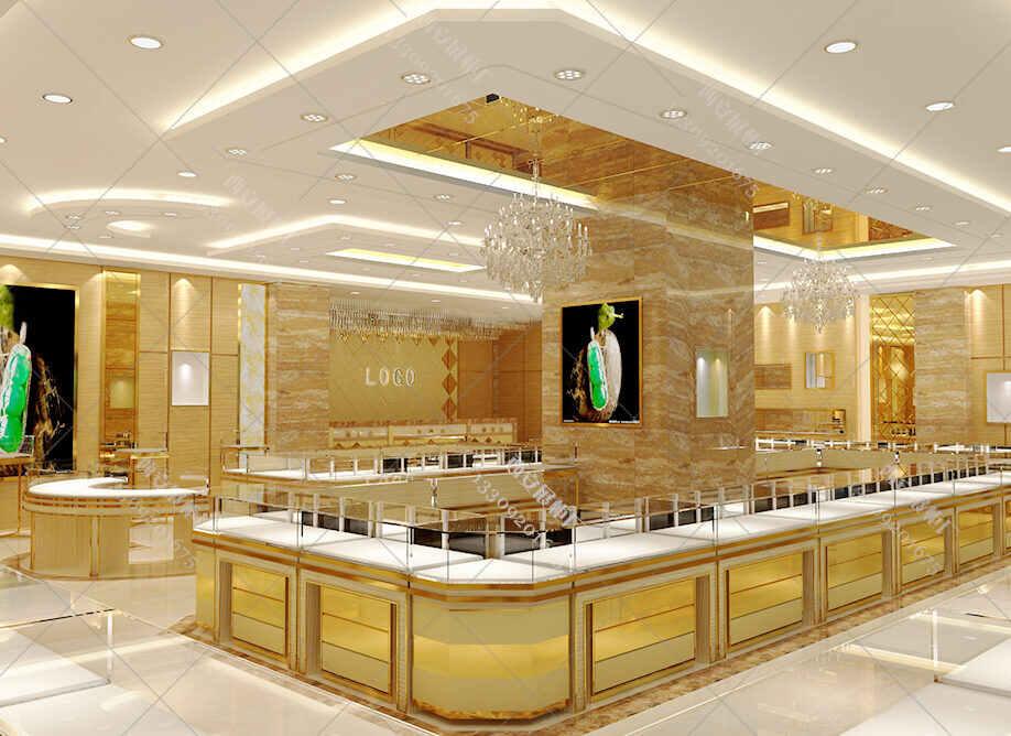 珠宝展柜效果图,珠宝展柜设计图,珠宝展柜定做设计方案