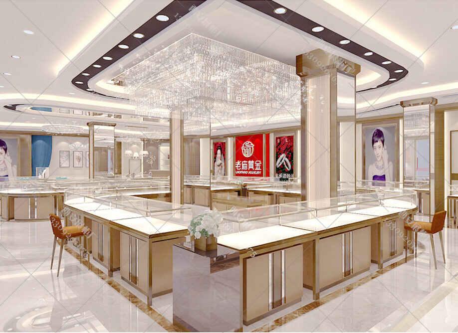 老庙黄金展柜设计,黄金珠宝展柜,黄金展柜设计方案
