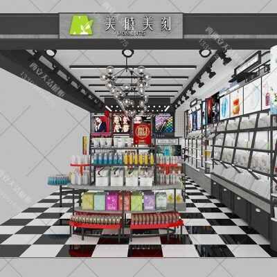 化妆品展柜图及化妆品展柜整店输出效果图设计方案